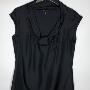 Escada Silk Black Cap Sleeve Blouse